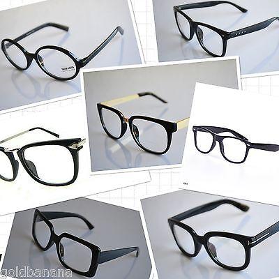 clear lens black frame hipster aviator eyeglasses sunglasses retro party (Nerdy Black Glasses)