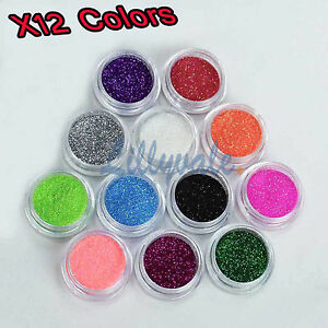 12 Mix Colours Nail Art Craft Acrylic Fine Glitter Powder Pots Tips Decoration