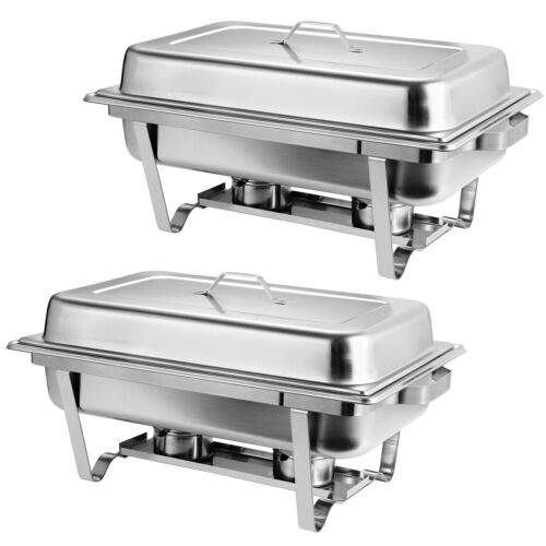 2 Packs Chafing Dish 8 Quart Stainless Steel Rectangular Chafer Full Size Buffet Business & Industrial