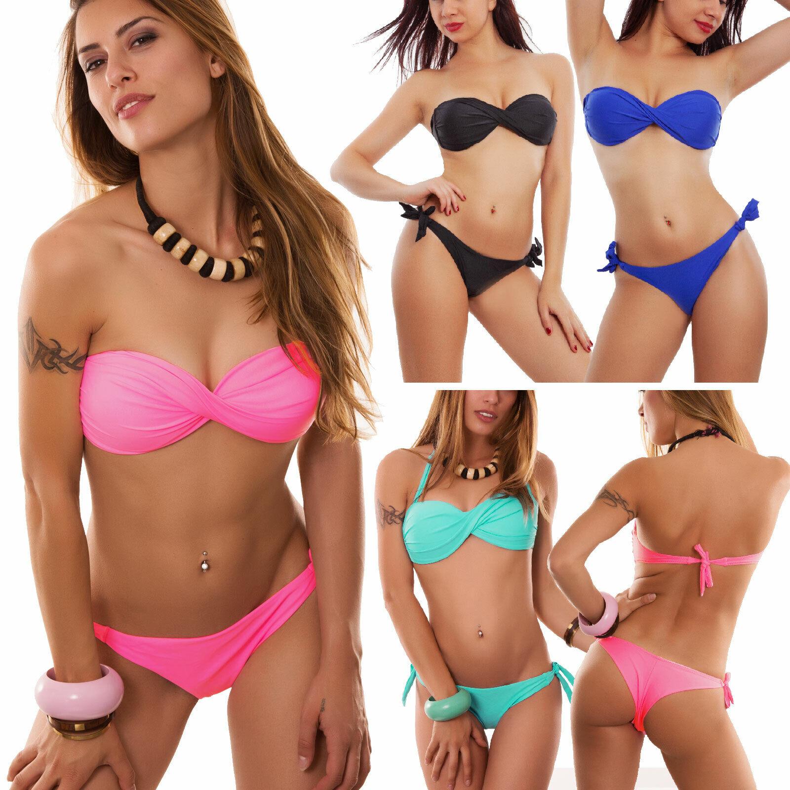 Bikini costume bagno brasiliana donna mare due pezzi fascia ricamo piscina B7070