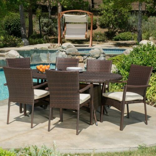 Lancaster Outdoor 7-piece Wicker Dining Set with Cushions Home & Garden