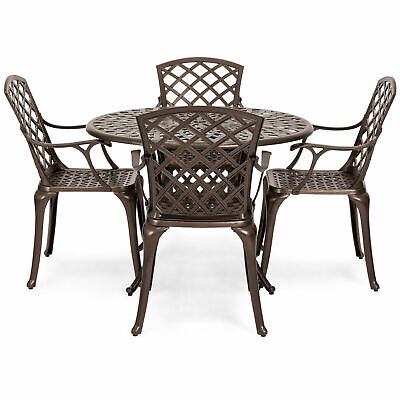 5 PCS Set Cast Aluminum Patio Dining Chair Table Furniture Outdoor Umbrella Hole