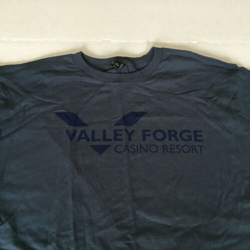 Valley Forge casino resort promotional T Shirt blue size large  cotton fabric
