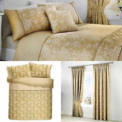 Gold Duvet Covers Jasmine Floral Damask Quilt Sets Luxury Be