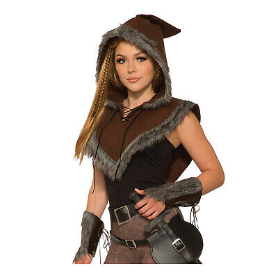 Adult Women's Dragon Viking Faux Fur Warrior Elf Astrid Costume Hooded Cape](Adult Dragon Costume)