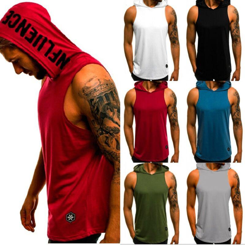Men Gym Sleeveless Top Vest Hoodie Bodybuilding Tank Top Mus