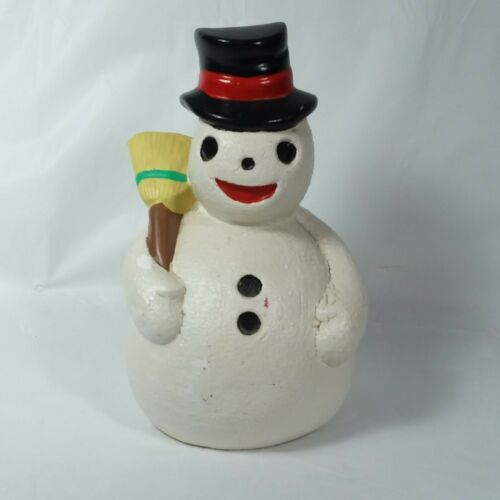 Vintage Snowman With Broom Top Hat Scary Face Ceramic