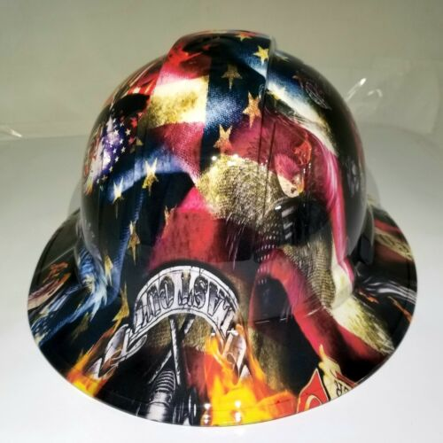 NEW FULL BRIM Hard Hat custom hydro dipped in , FIREFIGHTER FIRST IN , LAST OUT 3