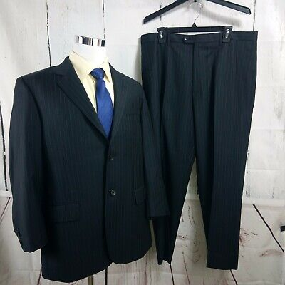 Baroni Couture Super 150's 44R 2 Button Black Striped 2pc Suit 37x28.5 FF