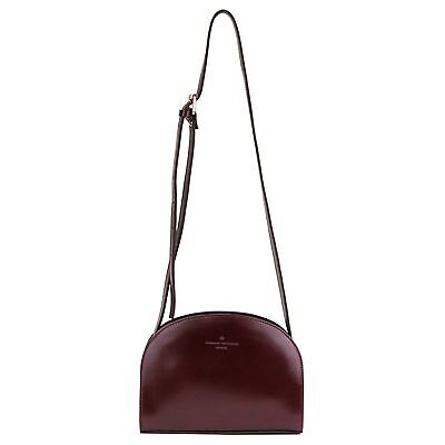 Womens Leather Cross Bag Half Moon Deme Lune Authentic Leather(cow) Burgandy