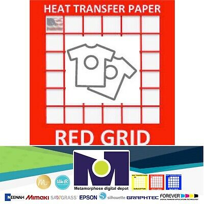 Red Grid Inkjet Heat Transfer Paper Light Color T Shirt 8.5x11 50 Sheets
