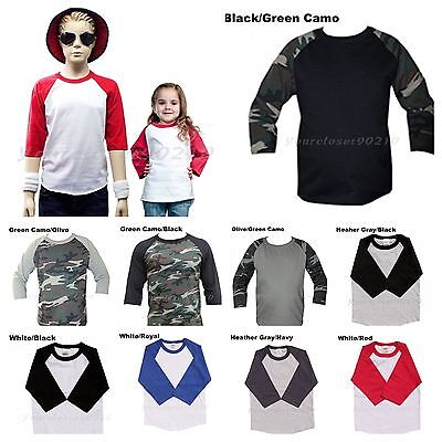 Kids Clothes Boy Girl Junior Toddler Baseball Raglan T-Shirt Fashion Casual Tee
