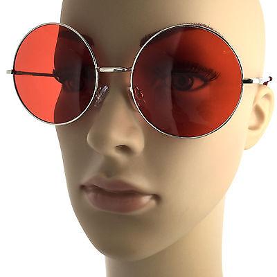 Large Round Metal John Lennon Vintage Style Sunglasses Silver Red Lenses