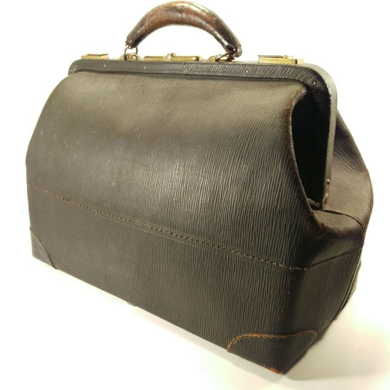 Antique Vtg Black Cowhide Leather Doctor