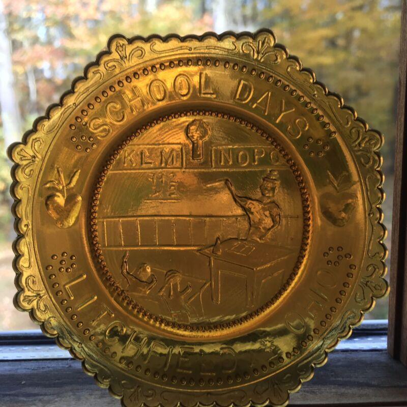 Teacher Gift School Days Litchfield OH Vintage Wetzel Glass Cup Plate Ohio Decor