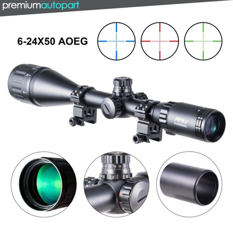 Pinty 6-24x50AO RGB Mil Dot Riflescope Combo W/ Sunshade Fli