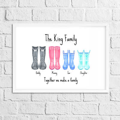Personalised Gift Wellies Welly Print With Family Name