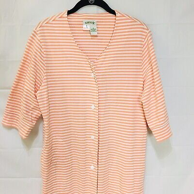 Orvis Womens Robe M Striped Snap Front Pockets Calf Length Long Sleeve ()