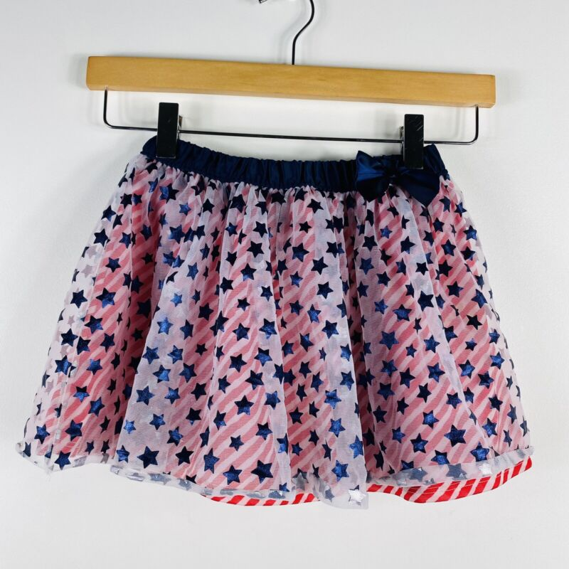 Girls Size 5T Toddler American Flag Patriotic Skirt Bow Casual
