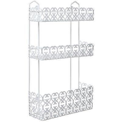 3 Tier Wall Mounted Bathroom (White Wall Mounted 3 Tier Shelf Baskets / Spice Rack / Bathroom Product)
