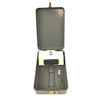 Vintage Heavy Gauge Metal File Box 11 X 7 Gray With Key