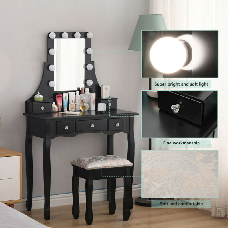 Vanity Set With 10 Dimmable Led Light Bulbs Makeup Table With Stool And Mirror Ebay