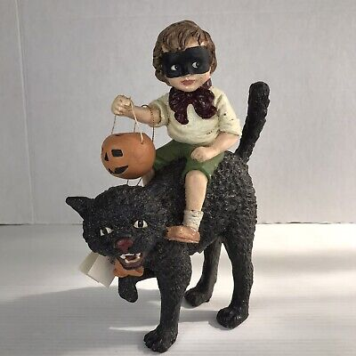 Bethany Lowe Boy With Pumpkin on Black Cat Bruce Elsass Halloween New AS IS