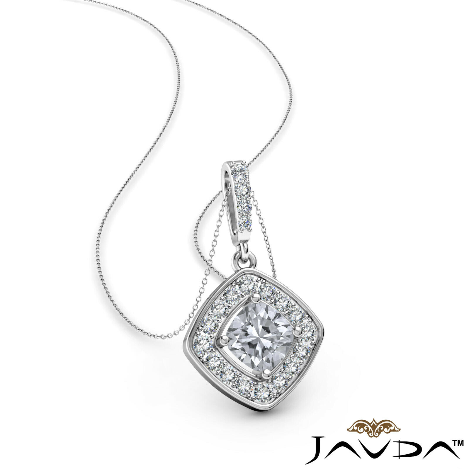 100% Natural Cushion Diamond Halo Micro Pave Setting Pendant Necklace 0.64ctw