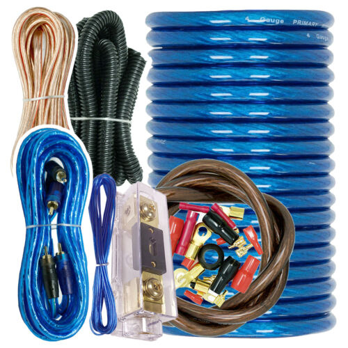 X-Brand True 4 Gauge Amp Kit Amplifier Install Wiring 4 Ga Wire Cable 3500W Blue