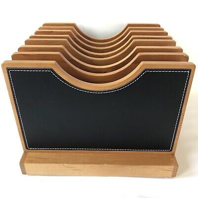 Levenger Black Leather Wood Desk Organizer Adjustable Versatile File 7 Slots
