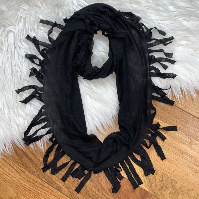 Justice Girls Size 12 Black Frayed Cotton Lightweight Infinity Scarf