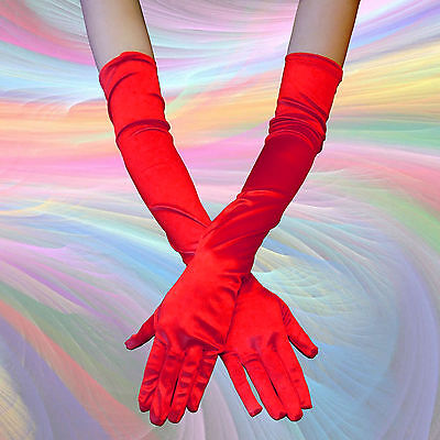 RED COLOR - Opera Elbow Length Satin Gloves Costume Full Fingered - QUICK SHIP