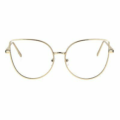 Womens Clear Lens Glasses Cute Cateye Butterfly Metal Frame UV (Cute Womens Glasses)