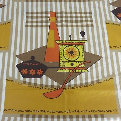 Vtg Kitsch 70s MCM Groovy Gold Orange Brown Kitchen Grinder Consistency Fabric