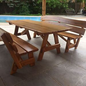 Patio Oak Furniture~ Table and Two Matching Benches