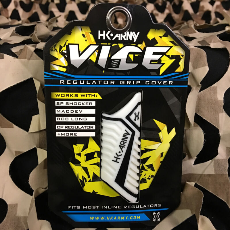 NEW HK Army Paintball Vice Reg Grip Inline Regulator Rubber Cover - White/Black