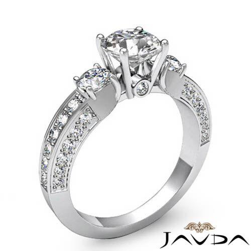 Ideal Round Cut Diamond Engagement 3 Stone Ring GIA F SI1 Platinum 2.65 carat