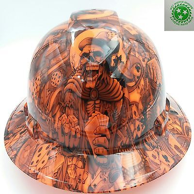 Full Brim Hard Hat Custom Hydro Dipped New Dealers Choice Orange Hot New