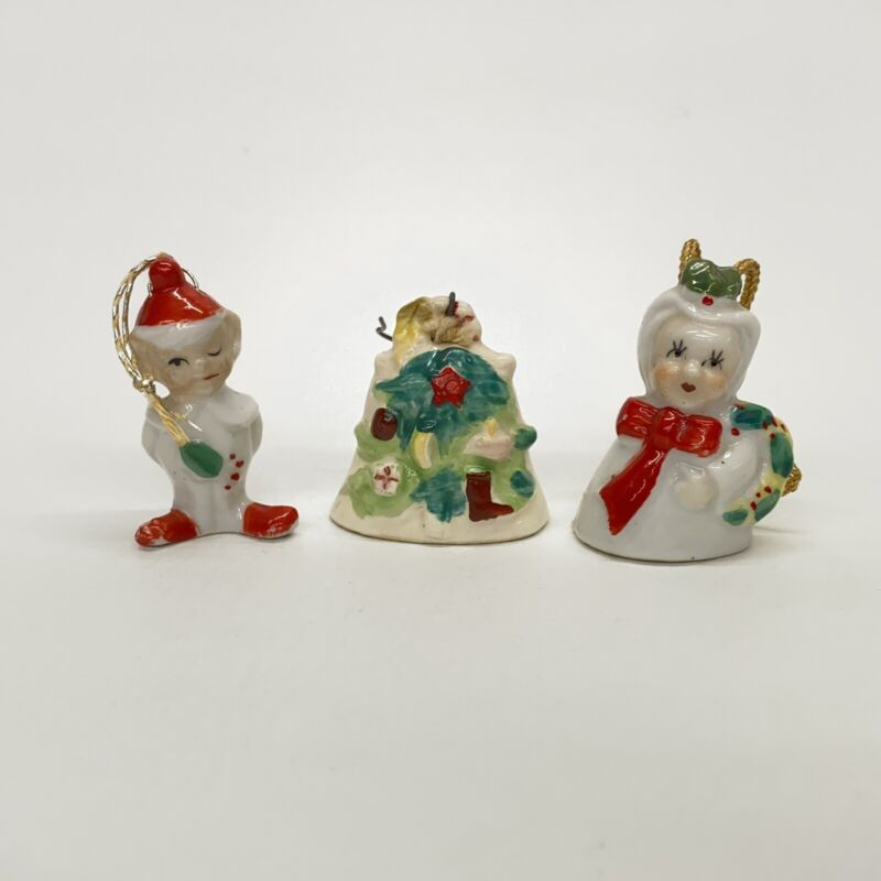 3 Vintage Porcelain Bell Christmas Ornaments Elf Woman With Wreath Made In Japan
