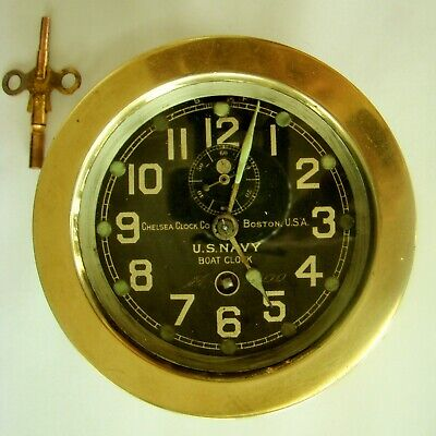 """CHELSEA ANTIQUE BRASS """"U.S. NAVY"""" BOAT CLOCK - 4 3/4"""" x 2"""" - WORKS - ACCURATE"""