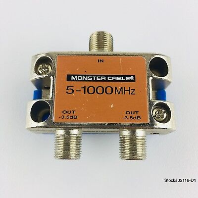 Monster Cable Standard Precision Cable TV 2 Way Splitter SS2 RF 5-1000 MHz.