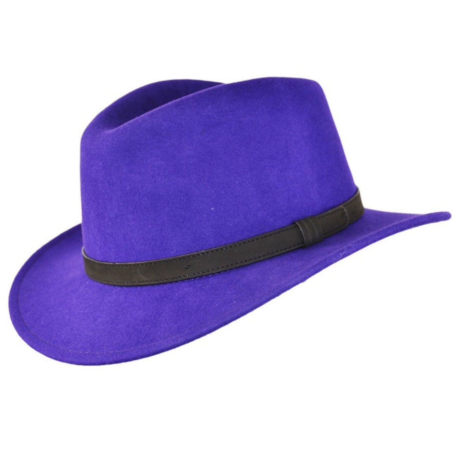 Gents Crushable Purple 100% Wool Felt Fedora Trilby Hat With Leather Type  Band. 2fa66fc6ce8
