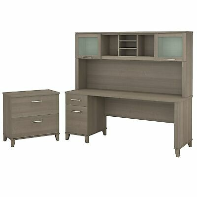 Bush Furniture Somerset 72w Office Desk Whutch And Lateral File Cabinet Ash