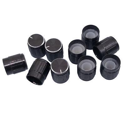 Us Stock 10pc Aluminum Hi-fi Cd Volume Tone Control Potentiometer Knob 6mm Black