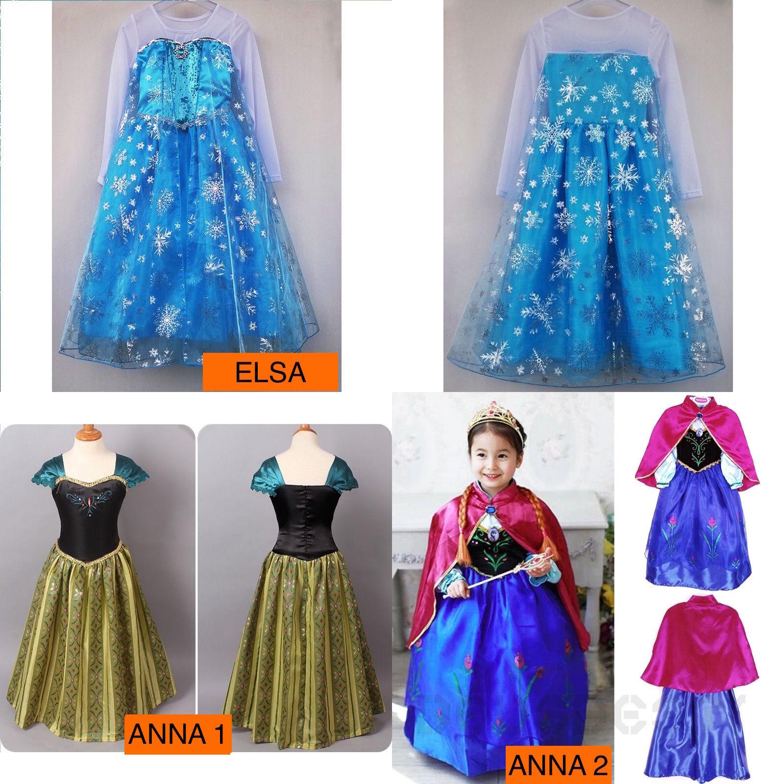 Principessa Elsa Abito Costume Fantasia Anna+4piece Bambini Party Cosplay Natale