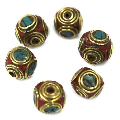 Turquoise Coral Brass 12 Beads Round Tibetan Nepalese Wholesale Lot Nepal BD101d
