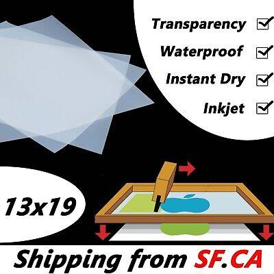 13x19,25 sheets,Waterproof Instant Dry Inkjet Silk Screen Printing Film ()