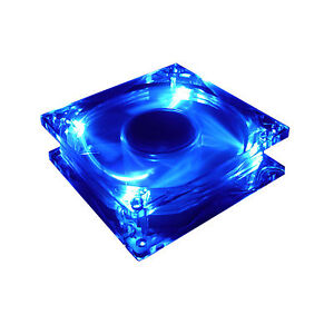NEW QUIET 80mm BLUE LED LIGHT UP PC CASE FAN - INCREASE AIRFLOW & COOLING