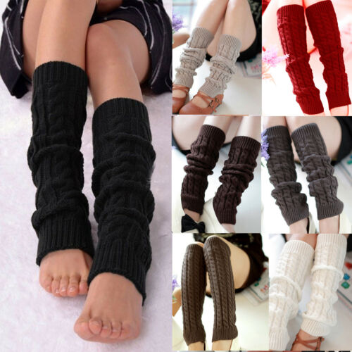 Women Girls Fashion Winter Leg Warmers Cable Knit Knitted Cr
