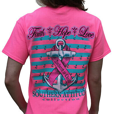 Southern Attitude Hope Breast Cancer Awareness Pink Womens T Shirt